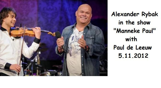 "Alexander Rybak with Paul de Leeuw in the TV-show ""Manneke Paul"". Belgium. Nov. 5th 2012"