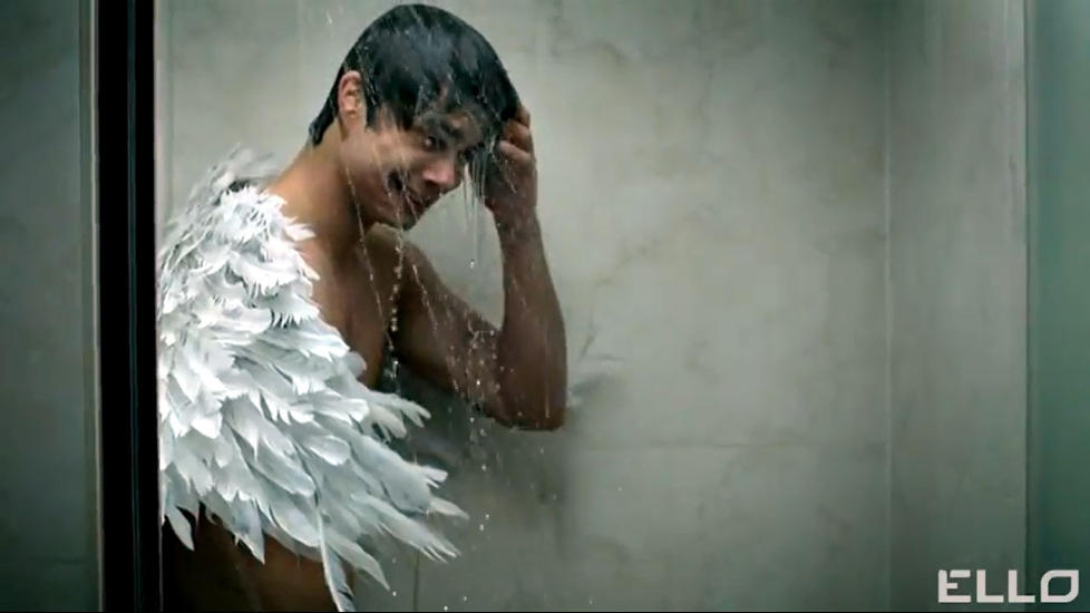 """Naked Rybak with angel-wings cries in the shower"". June 20th 2012"